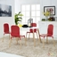 Stack Modern 5pc Square Two-toned Dining Chairs With Wood Table, Red