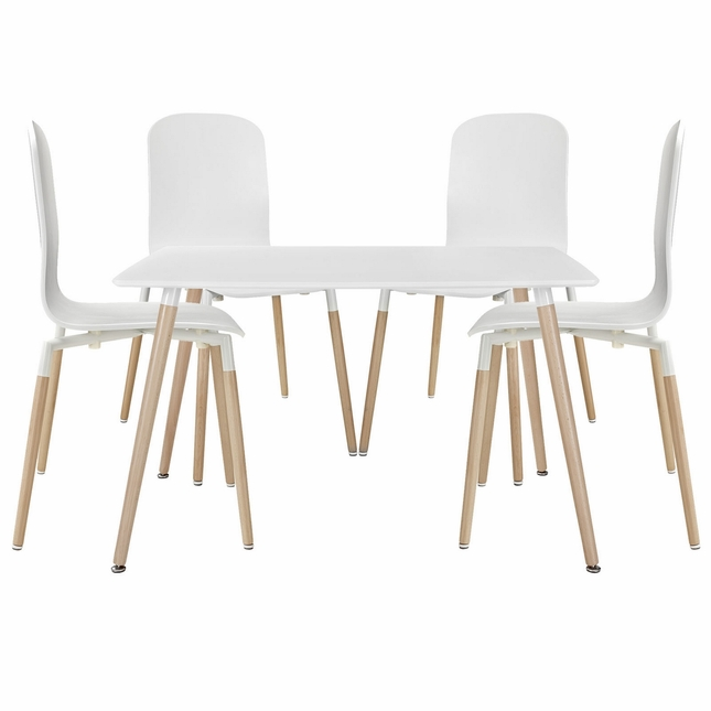 Stack Modern 5pc Square Two-toned Dining Chairs With Wood Table, White
