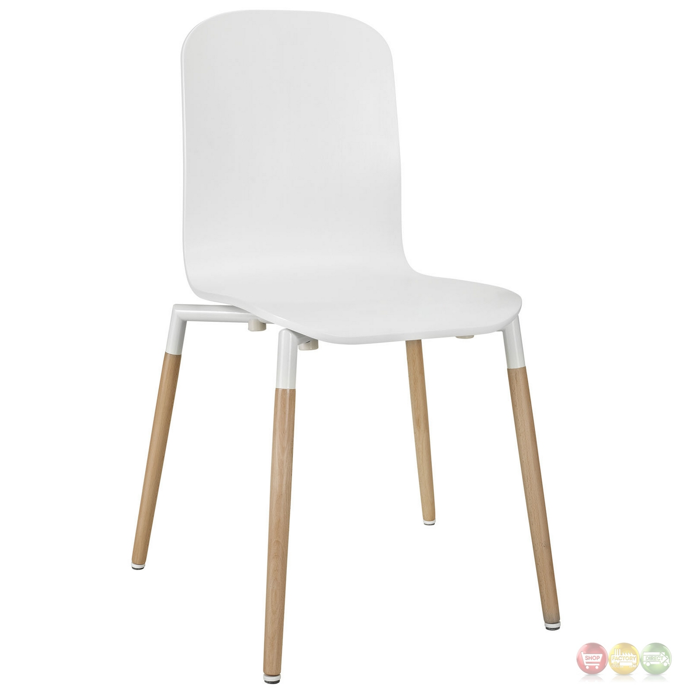 Square Dining Chairs: Stack Modern 5pc Square Two-toned Dining Chairs With Wood