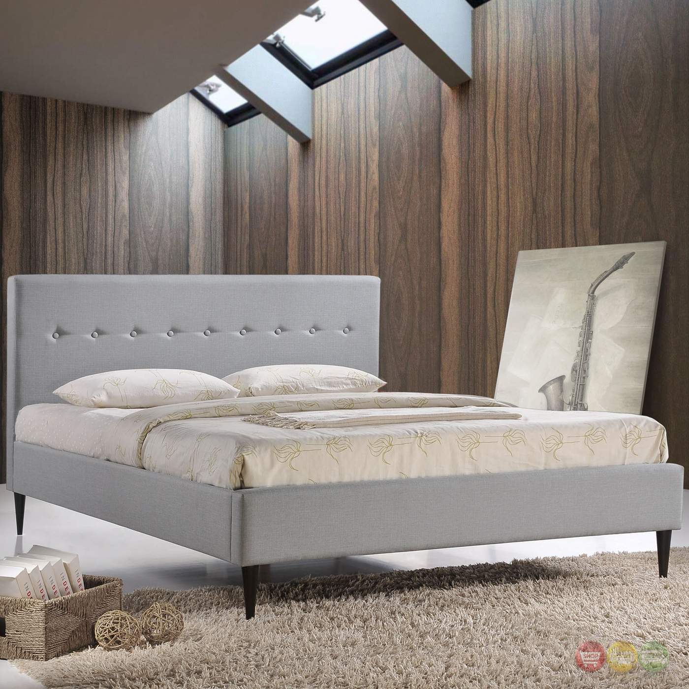 platform bed modern modern upholstered button line tufted platform 12915