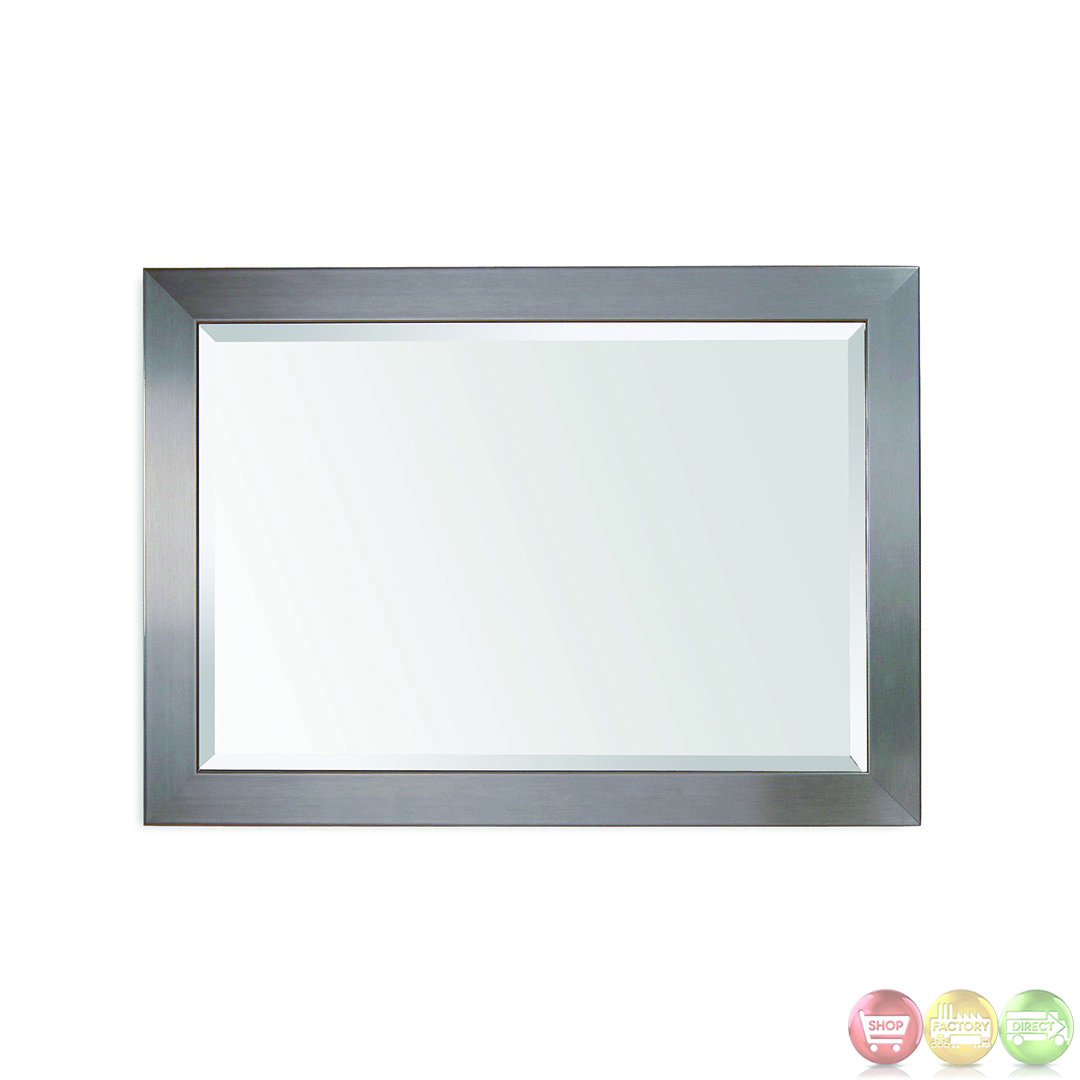 stainless brushed chrome modern wall mirror 63307 1814ec. Black Bedroom Furniture Sets. Home Design Ideas