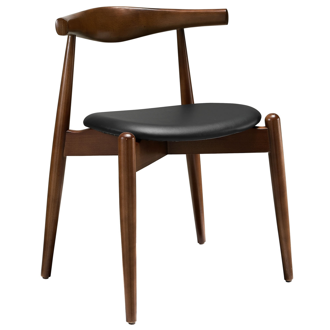 Stalwart contemporary solid wood dining side chair with for Modern black dining chairs