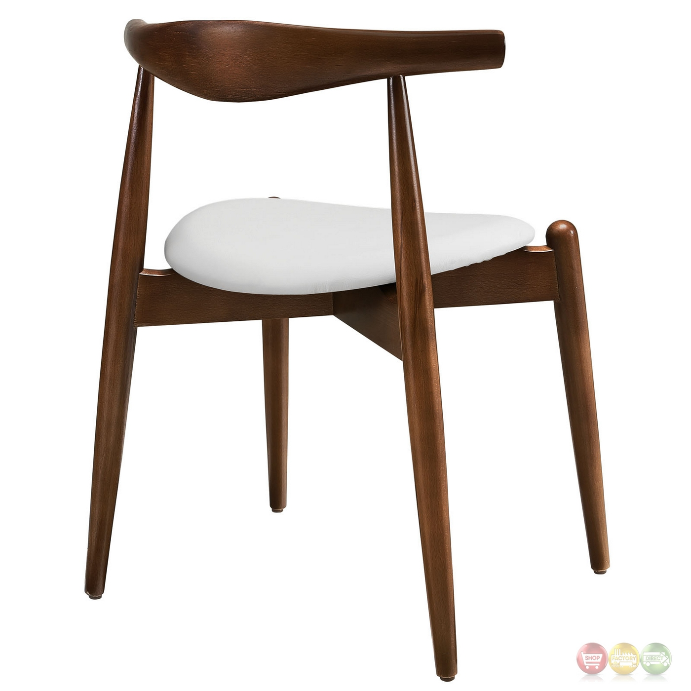 stalwart contemporary solid wood dining side chair with vinyl cushion dark walnut white. Black Bedroom Furniture Sets. Home Design Ideas