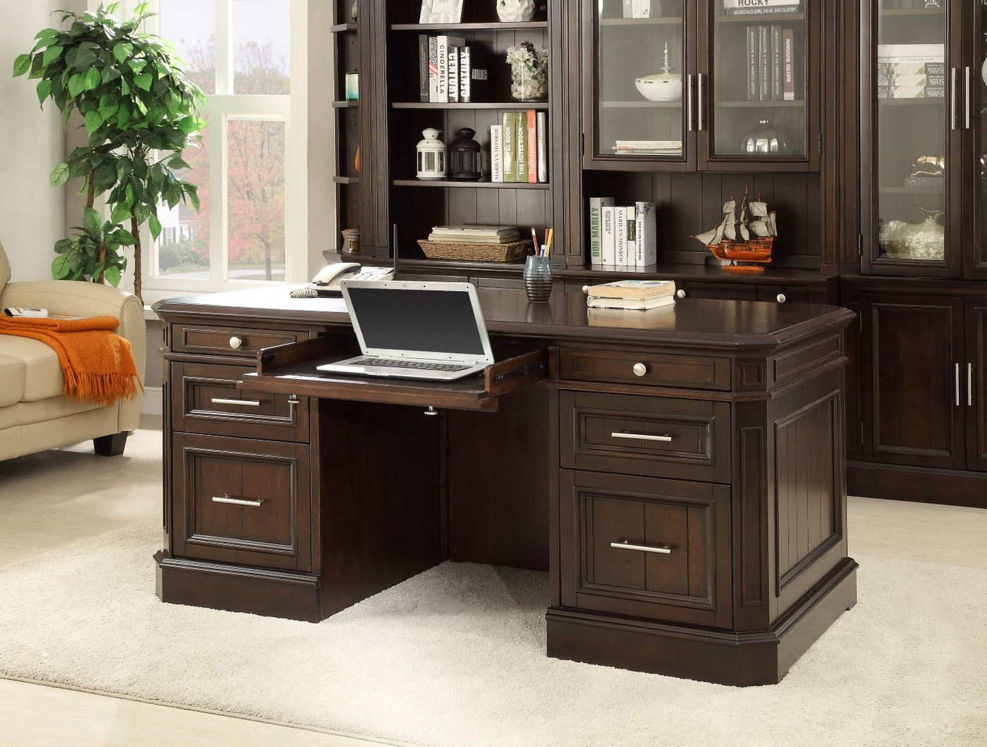 Stanford Transitional Double Pedestal Executive Desked in Li