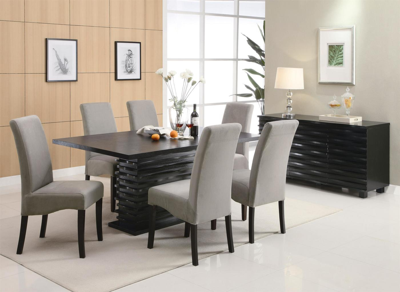 Stanton semi formal gray 7 piece dining room furniture set for Formal dining room furniture