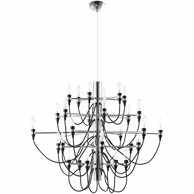 Starbright Contemporary 30-light Chandelier In Chrome Plated Finish, Black