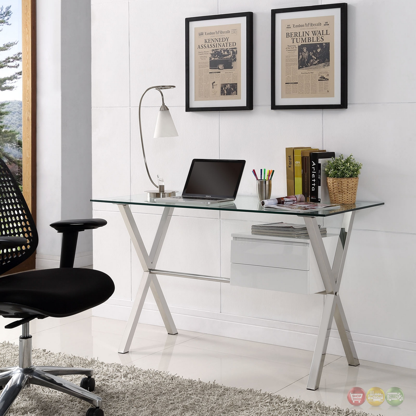 Modern Office Desk: Stasis Modern Glass Top & Steel Office Desk With Walnut