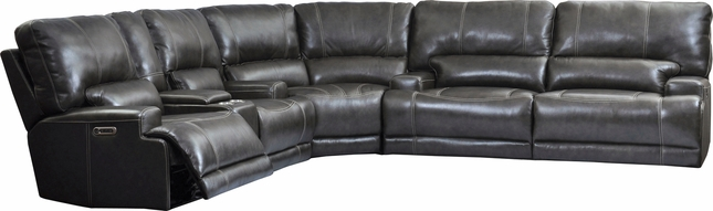 Steele Power Leather Sectional Sofa w/ Power Headrests and USB in Steele Twilight