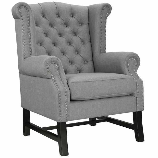 Steer Traditional Button-tufted Upholstered Armchair w ...