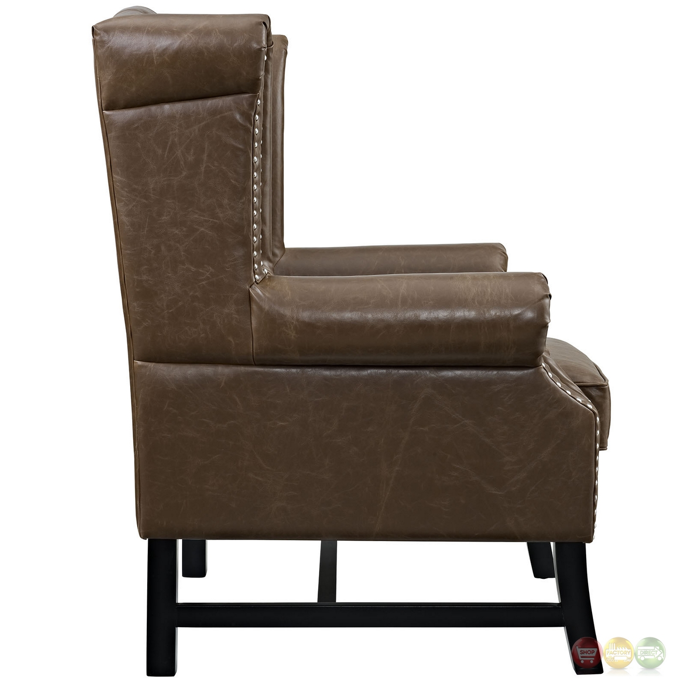 Steer traditional button tufted vinyl armchair w nail head for Armchair builder