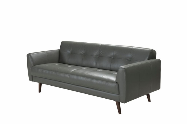 Stefano Mid-Century Modern Italian Leather Buttonless Tufted Sofa in ...
