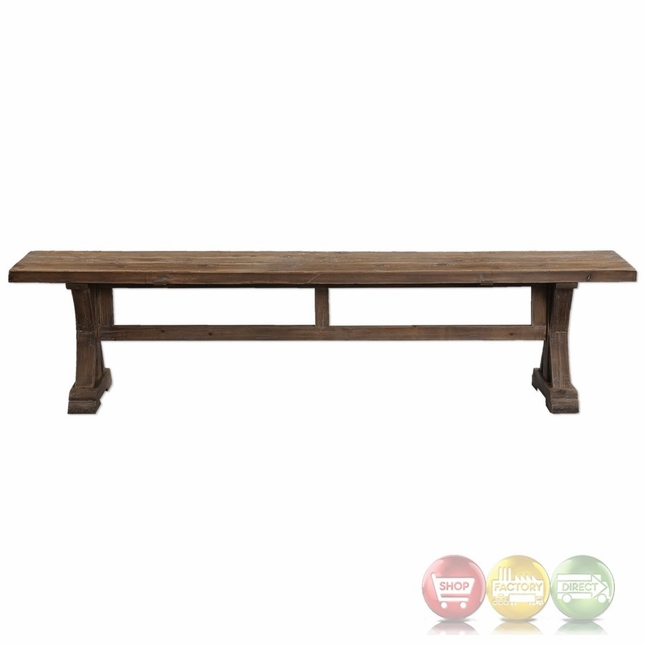Stratford Salvaged Fir Sun Faded Wood Dining Bench With Distressed Patina