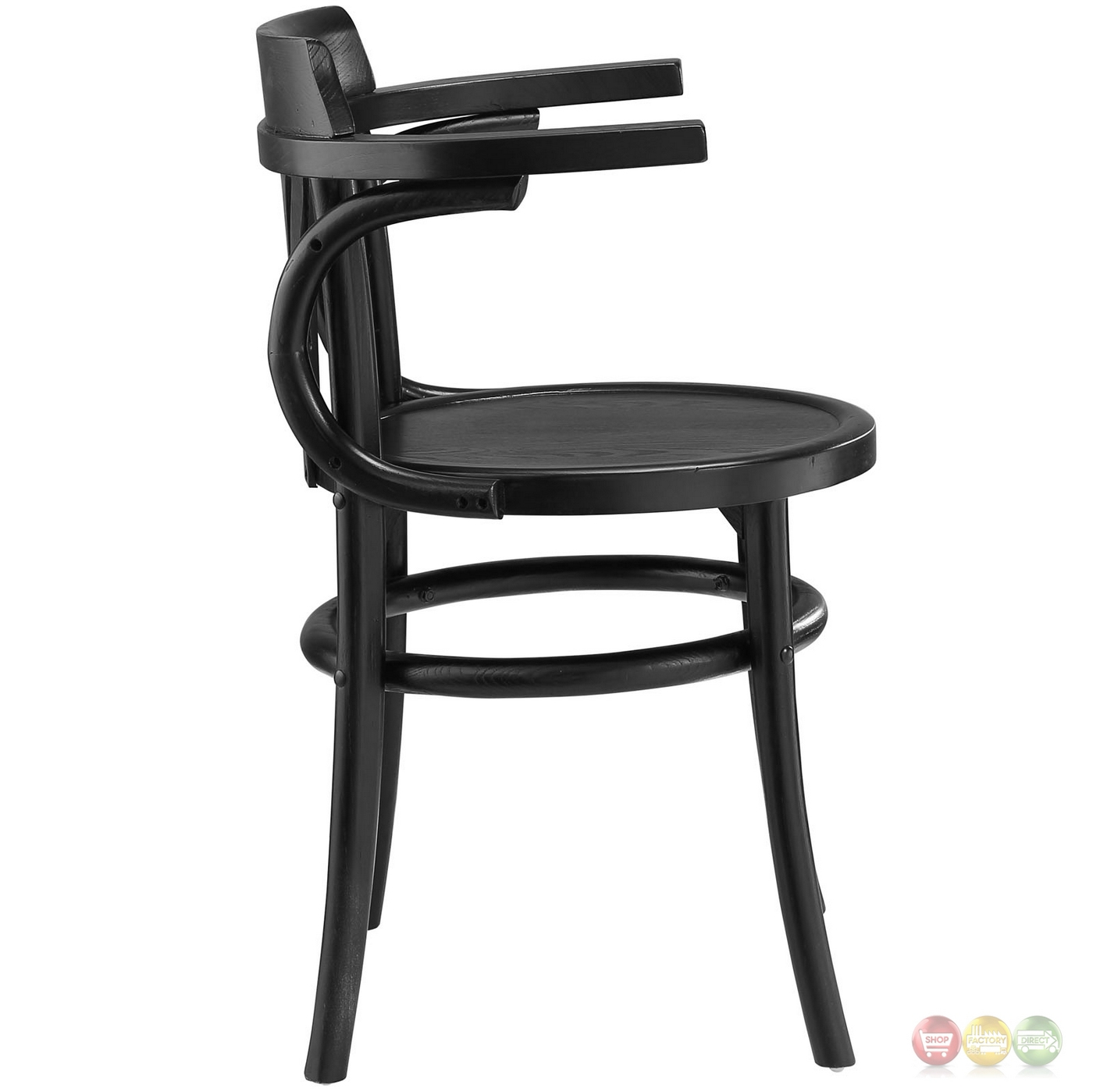 Stretch modern rustic solid wood round seat dining side for Modern black dining chairs