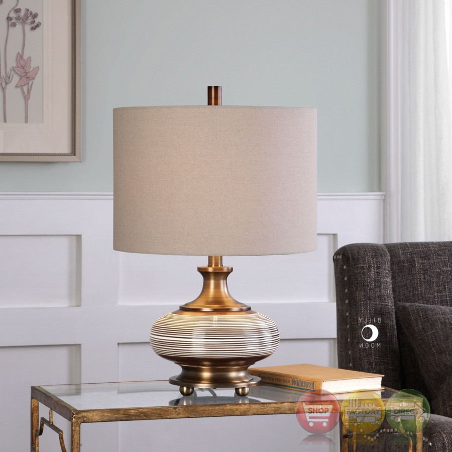 Strona Ceramic Table Lamp In Rust Bronze Finish With Round