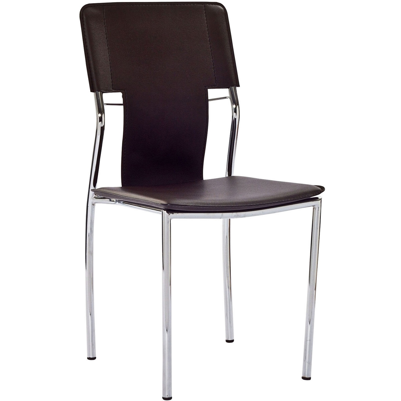 Studio modern vinyl dining side chair with chrome frame brown for Modern chrome dining chairs