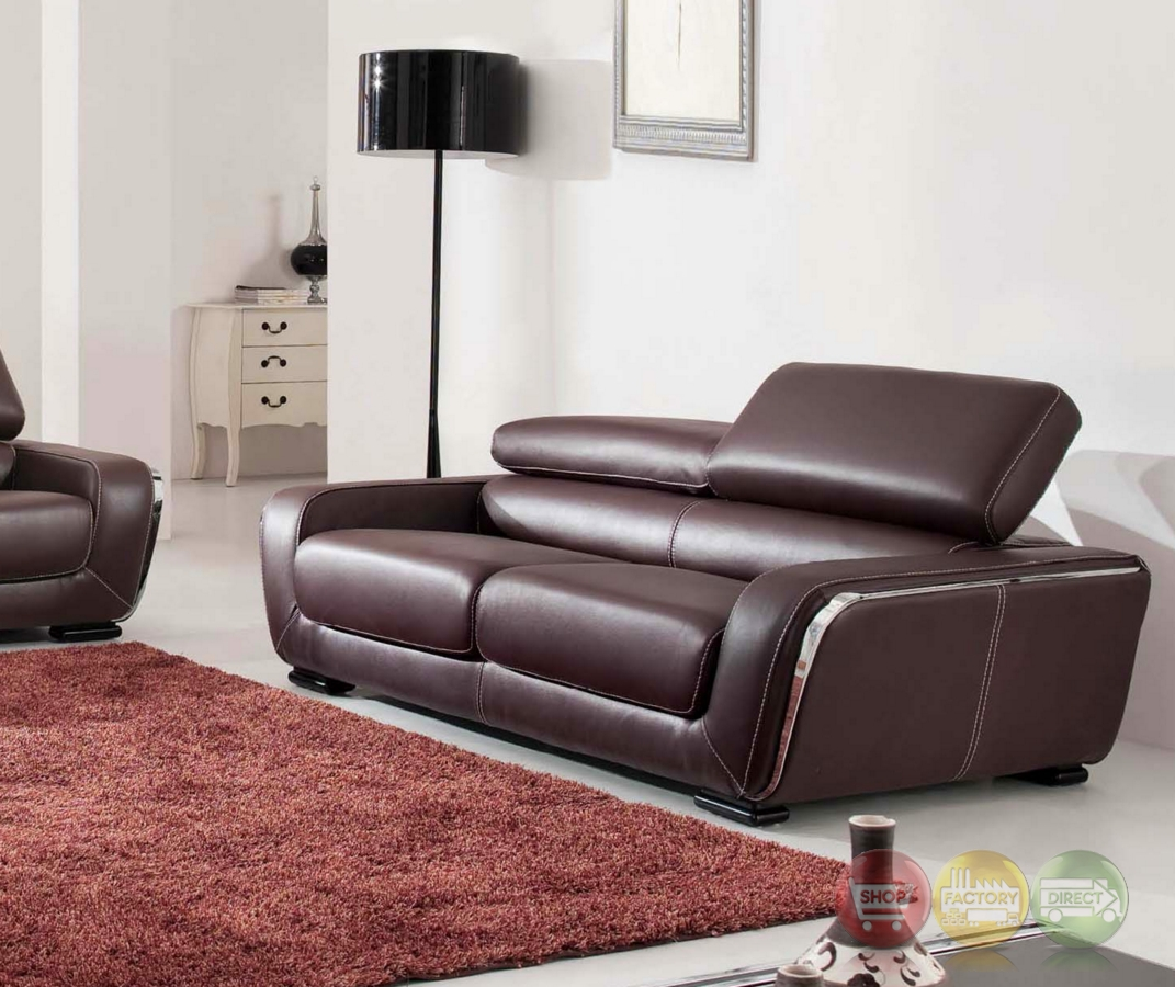 Stylish 2750 brown genuine italian leather sofa ebay for Genuine italian leather sectional sofa