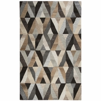 """Rizzy Home Suffolk Wool Rectangle Runner Area Rug 2'6""""x 8'Grey Natural Geometric"""