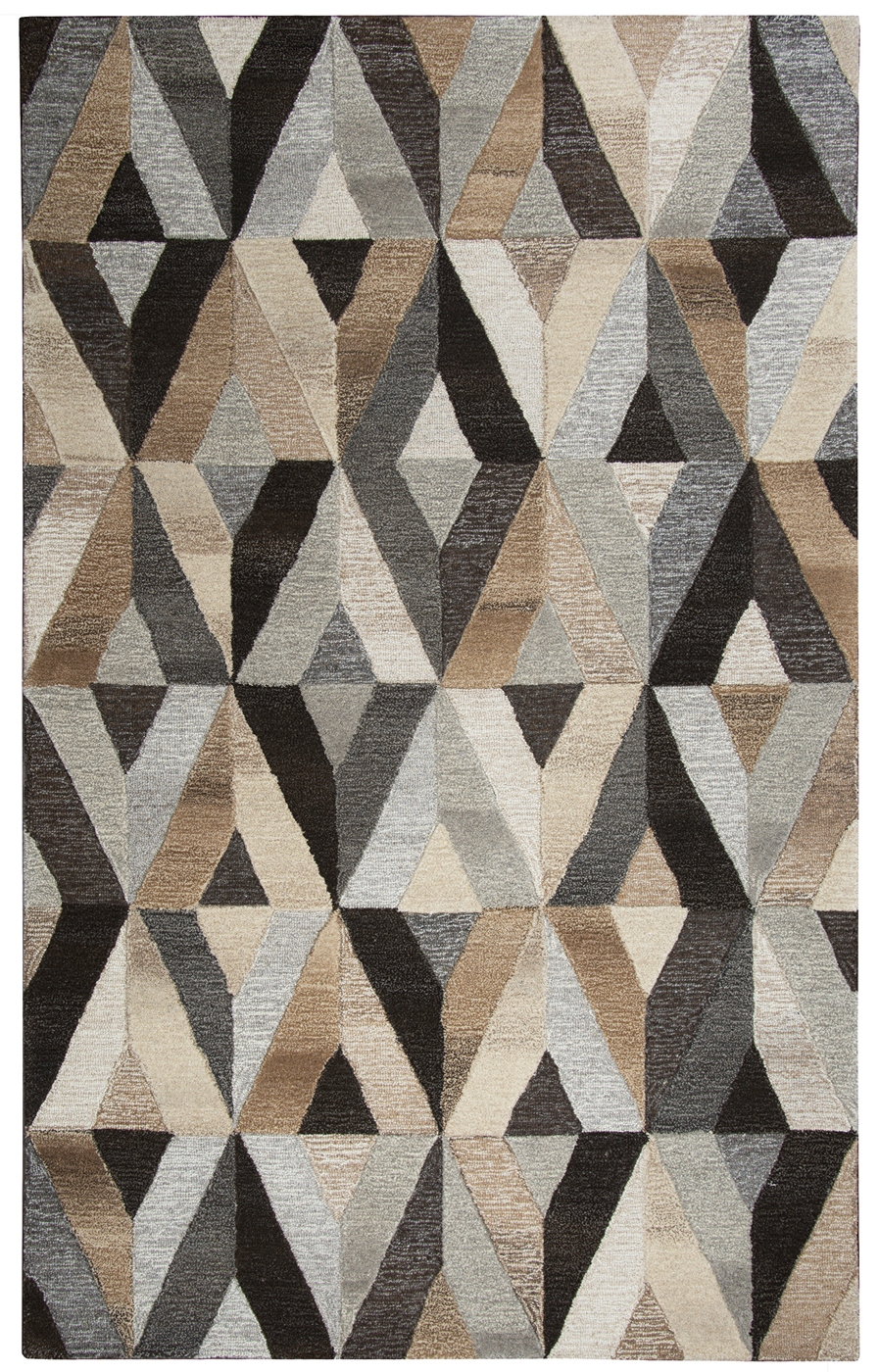 Suffolk 3d Diamond Wool Area Rug In Gray Amp Natural 9 X 12