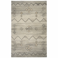 """Rizzy Home Suffolk Wool Rectangle Runner Area Rug 2'6""""x 8' Grey Natural Moroccan"""