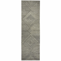"""Home Suffolk Wool Rectangle Runner Area Rug 2'6""""x 8'Grey Natural Geometric/Solid"""