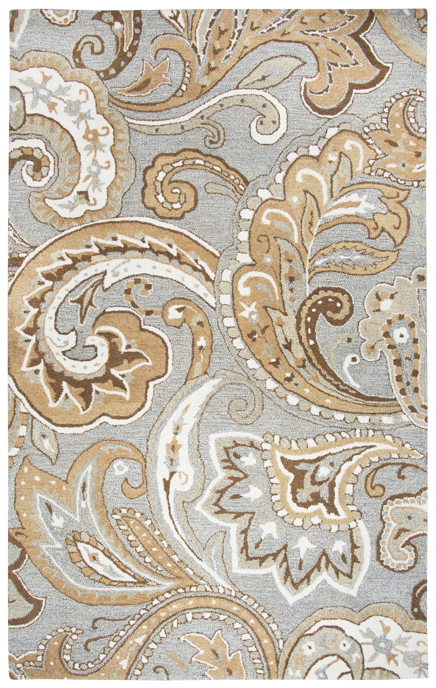 Suffolk Elegant Paisley Wool Area Rug In Gray Amp Natural 10