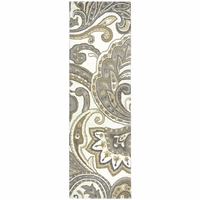 """Rizzy Suffolk Wool Rectangle Runner Area Rug 2'6""""x 8'Beige Brown Natural Paisley"""