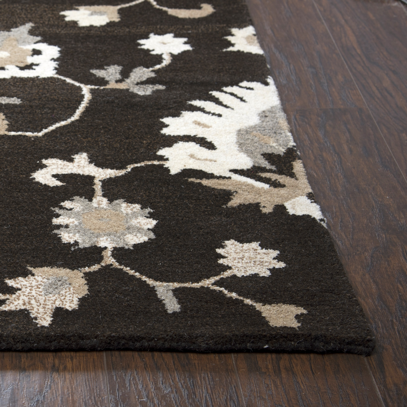 Suffolk Floral Vines Wool Area Rug In Brown Amp Natural 8