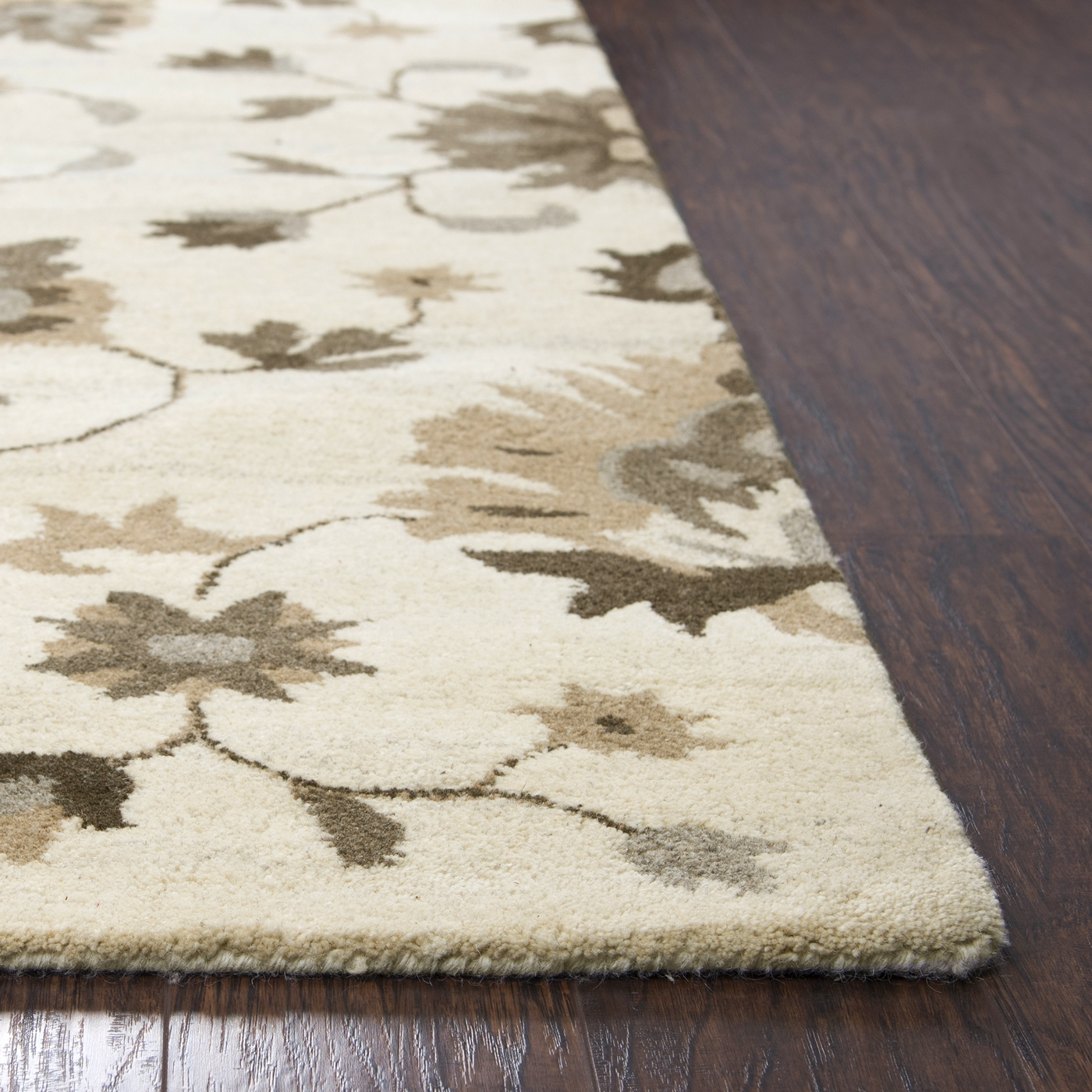 Suffolk Floral Vines Wool Area Rug In Beige Amp Natural 8