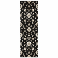 """New Suffolk Wool Rectangle Runner Area Rug 2'6""""x 8'Brown Natural Oriental/Floral"""