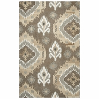 Rizzy Home Suffolk Wool Rectangle Area Rug 10 x 13' Brown Natural Medallion Ikat