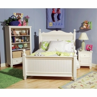 Summer Breeze Cottage Simple White Low Poster Full Bed