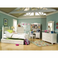 Summer Breeze Cottage Simple White Low Poster Twin Bed