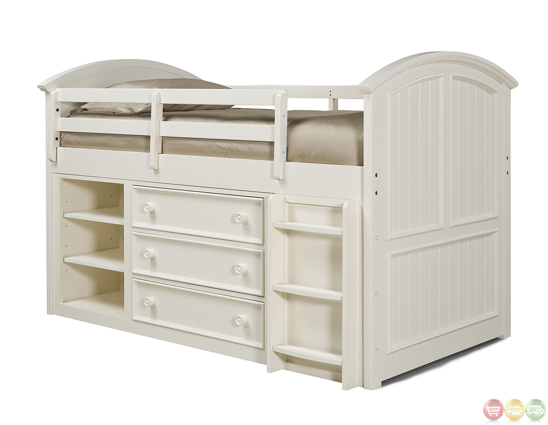 Summer Breeze Simple White Cottage Mid Loft Twin Bed