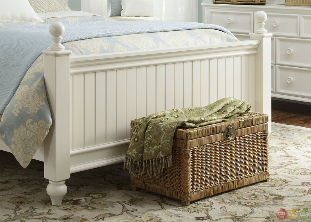 Summer Breeze Simple White Low Poster Queen Youth Bed