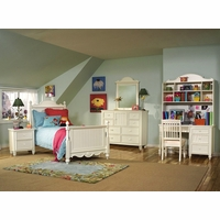 Summer Breeze Simple White Scroll Top Poster Twin Bed