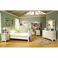 Summer Breeze Simple White Sleigh Twin Youth Bed