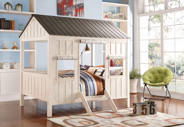 Summer Cottage Kids Cabin-Style Full Bed in Weathered White & Washed Gray