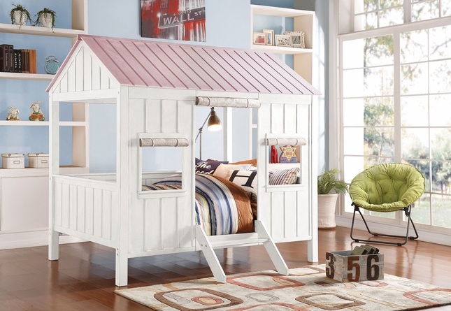 Summer Cottage Kids Cabin-Style Full Bed in Weathered White & Washed Pink