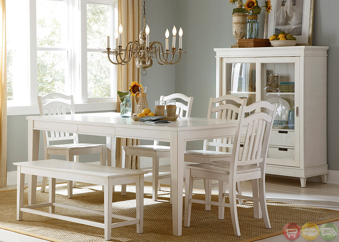 Summerhill cottage white finish casual dining table set for Casual dining table