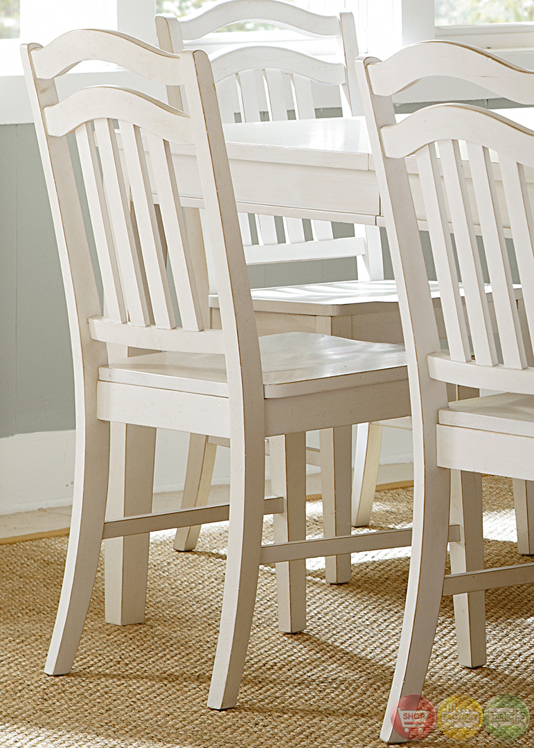 Summerhill cottage white finish casual dining table set for Casual dining table set