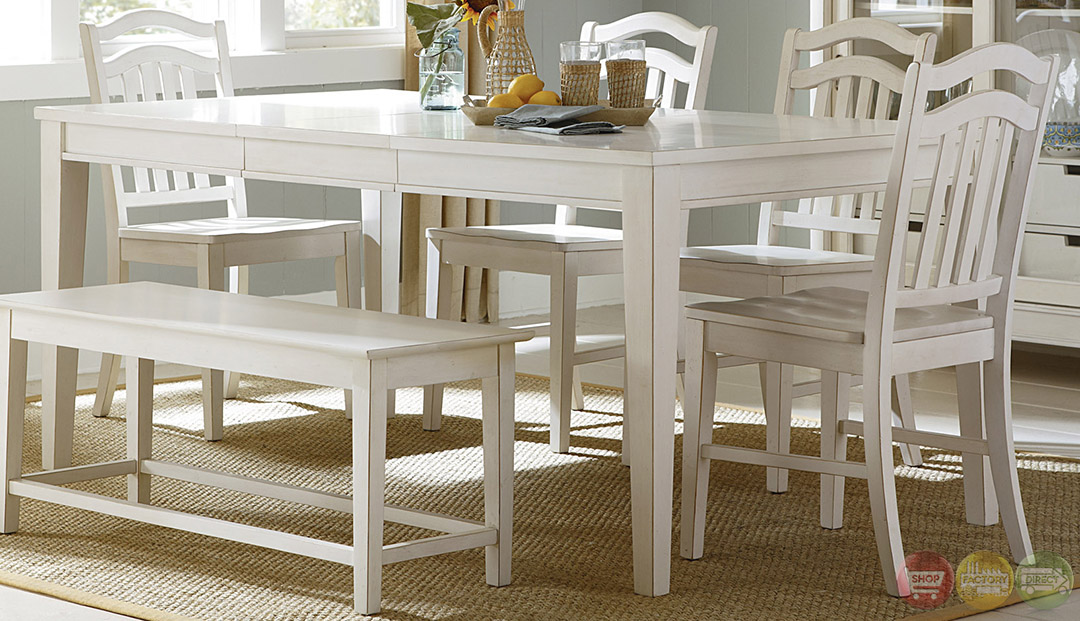 Summerhill cottage white finish casual dining table set for White casual dining table