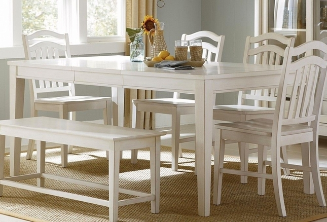 & Summerhill Cottage White Finish Casual Dining Table Set