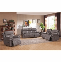 Summerlands Lay Flat 3pc Reclining Sofa Set In Genuine Smoke Grey Leather