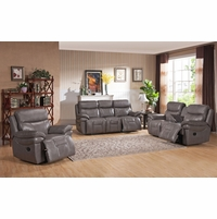 Summerlands Lay Flat Reclining Sofa & Loveseat Set In Real Smoke Grey Leather