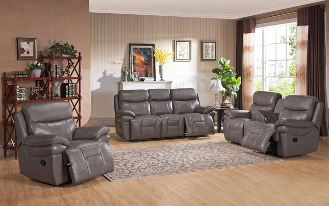 Summerlands Lay Flat Reclining Sofa U0026 Loveseat Set In Real Smoke Grey  Leather
