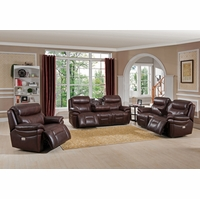 Summerlands Powered 3pc Reclining Sofa Set In Genuine Brown Leather