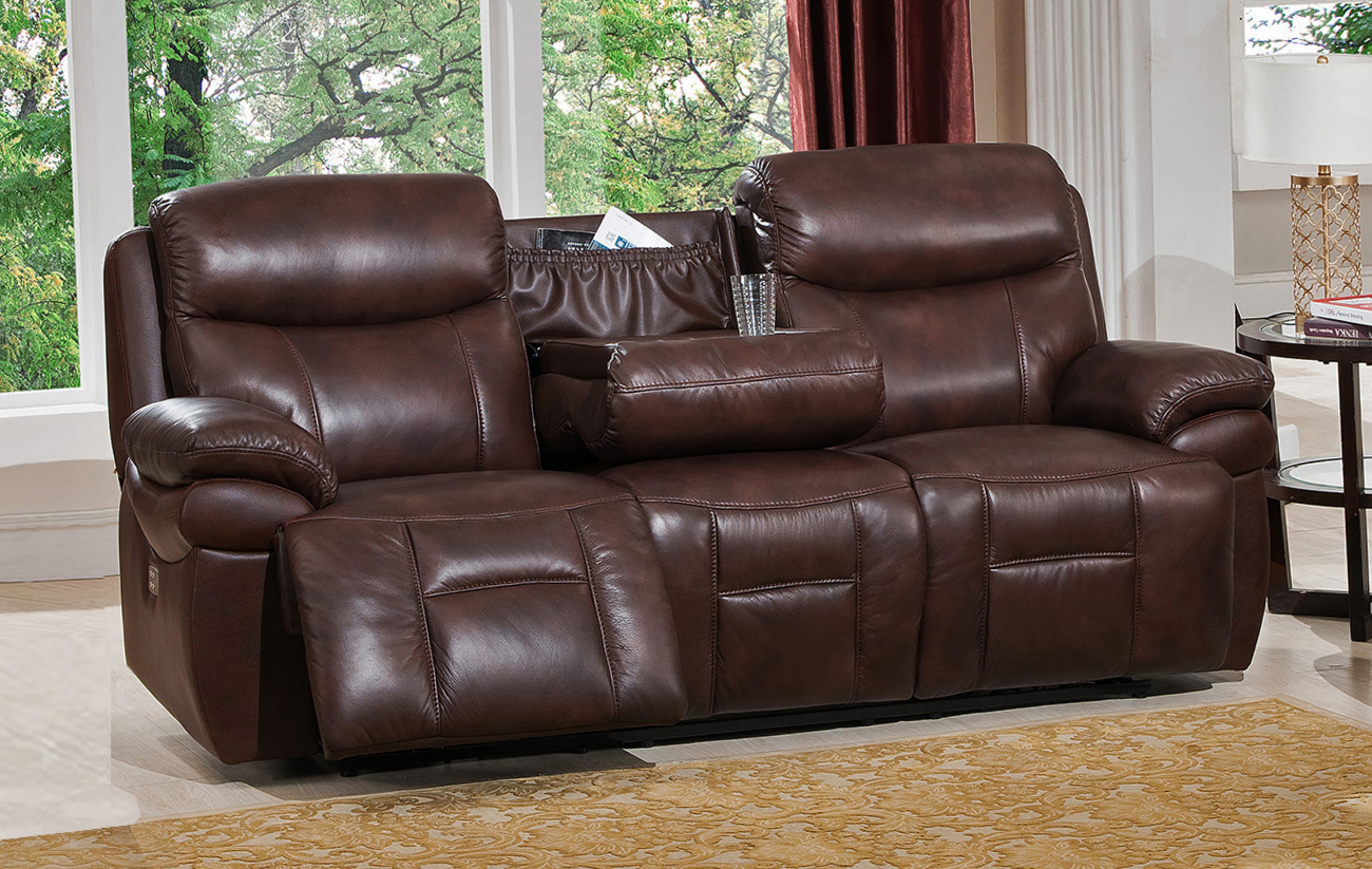 summerlands powered 3pc reclining sofa set in genuine brown leather. Black Bedroom Furniture Sets. Home Design Ideas