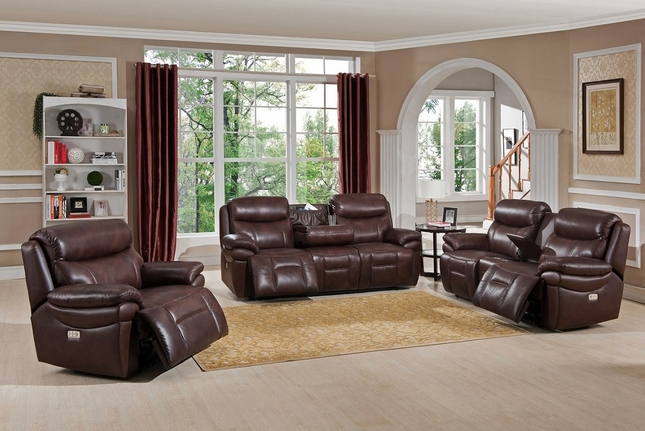Summerlands Powered Reclining Sofa & Loveseat Set In Genuine Brown Leather