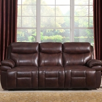 Summerlands Real Genuine Leather Full Power Recline Sofa In Burnt Umber