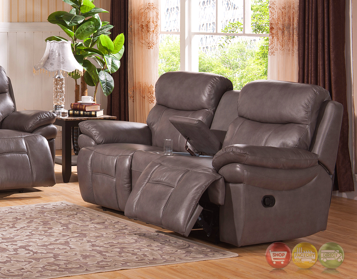 summerlands lay flat 3pc reclining sofa set in genuine smoke grey leather. Black Bedroom Furniture Sets. Home Design Ideas